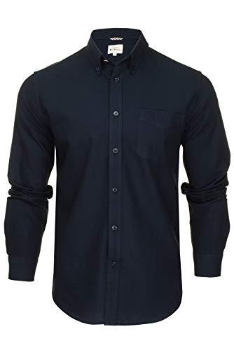 Ben Sherman Mens Oxford Shirt Long Sleeved Embroidered Logo Dark Navy Embroidered Pocket Logo L