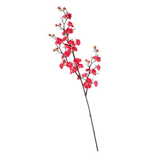 Sharplace Branche De Fleur De Bouquet De Prunes En Plastique De Soie Artificielle - Rose rouge
