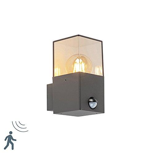 QAZQA Modern Außen Wandleuchte dunkelgrau mit Bewegungsmelder IP44 - Dänemark/Außenbeleuchtung Aluminium/Kunststoff Würfel/Quadratisch/Rechteckig LED geeignet E27 Max. 1 x 13 Watt