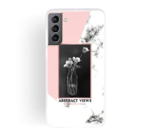 ChoosEU Compatible con Funda Samsung Galaxy S21 5G Silicona Dibujos Mármol Creativa Carcasas para Chicas Mujer Hombres, TPU Case Antigolpes Bumper Cover Caso Protección - Jarrón