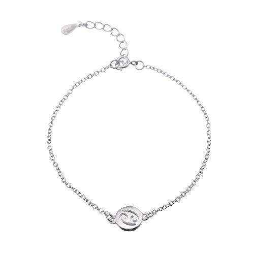 lonfenner Sternbild Armband,925 Sterling Silber Schöne Armbänder Einfache 12 Sternzeichen Sternbild Schild Manschette Armbänder Armband Frauen Frauen Krebs