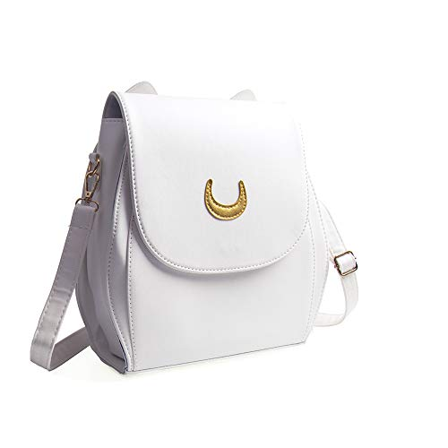 Oweisong Damen Moon Sailor Geldbörsen und Handtaschen Cute Cat Anime Rucksack Mode Funkelnde Satchel Tote Schultertasche, Weiß (weiß), Einheitsgröße