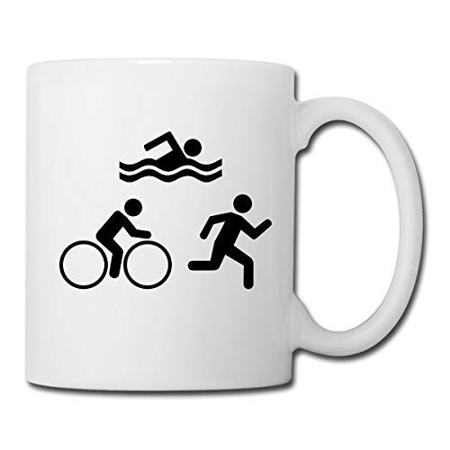 Triathlon Piktogramme Schwimmen Radfahren Laufen Tasse, Weiß