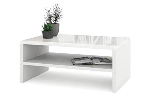 all4all Couchtisch Kaffetisch Riva mit Ablage Hochglanz Matt Weiß Schwarz Betonfarbe Modern 05 (Weiß Hochglanz + Weiß matt)