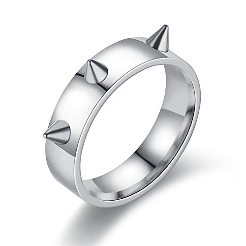 LONG-D Hip-Hop Wind Self-Defense Couple Ring 3 Nail-Tip Defense Ring Men And Women Suitable for Portable Anti-Wolf Ring,B,9 =19 mm