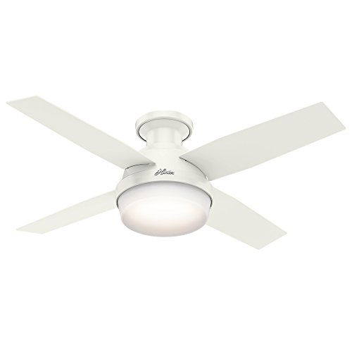 Hunter Dempsey Indoor Low Profile Ceiling Fan with LED Light and Remote Control, 44 Inch , White