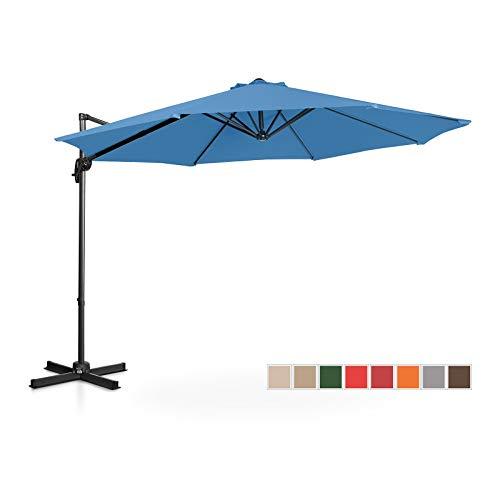 Uniprodo Ampelschirm Uni_Umbrella_2R300BL Gartenschirm (rund, Ø 300 cm, drehbar, blau)