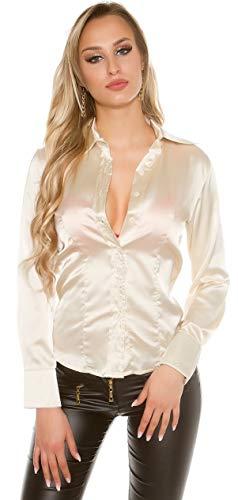Firstclass Trendstore festlich und Elegante Langarm-Bluse im Satin-Look Gr. XS - XL, glänzend Business-Bluse Damen Büro Feier (H9487 900170 beige S)