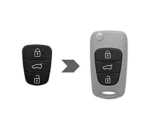 AMAKEY | Tastenfeld Gummipad Ersatztastenfeld für Hyundai & Kia Autoschlüssel Klappschlüssel Fernbedienung | 3 Tasten