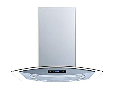 Winflo 36 In. 520 CFM Convertible Stainless Steel Glass Island Range Hood with Mesh Filter and Touch Sensor Control