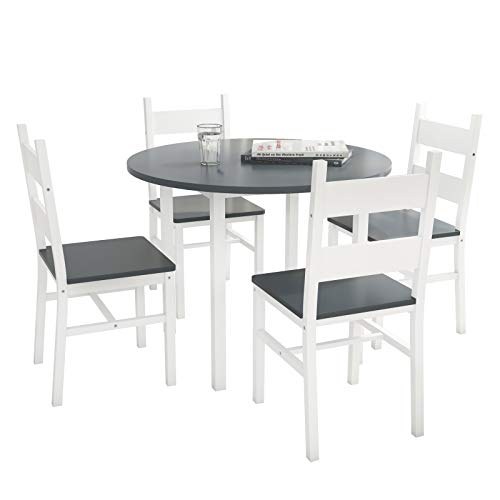 mecor 5-Piece Kitchen Dining Round Table Set, Modern Solid Wood Round Table w/ 4 Chairs for Home Kitchen Dining Room Furniture, Grey