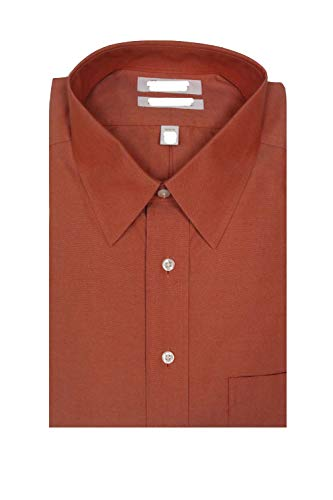 Gold Label Roundtree & Yorke Non-Iron Fitted Point Collar Solid Dress Shirt F85DG130 Terracotta (16.5-34)