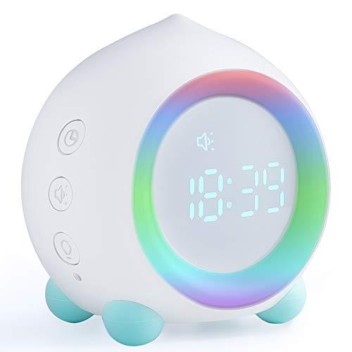Despertadores digitales infantiles reloj despertador infantil con wake-up light, reloj entrenador de sueño y función de repetición (Blanco)