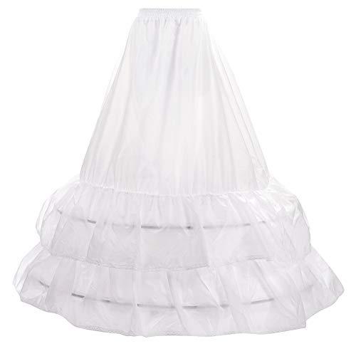 LONGBLE Reifrock bruidsjurk petticoat onderrok, 2 ruches crinoline - 2 ringen verstelbaar Underskirt dames lang onderrok voor trouwjurken baljurken avondjurken bruidsjurken Promjurken