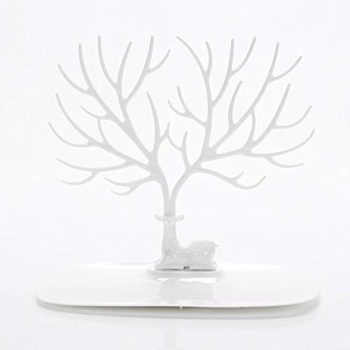 Joyero de joyería, soporte creativo para joyas, pendientes, anillos, pulseras, estante de almacenamiento 22 x 15 x 22 blanco