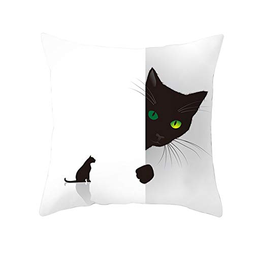 KunLS Halloween Cushion Cover Cushion Covers 18x18 Scary Night Trick Or Treat Pillow Cover, Happy Halloween Sofa Bed Throw Cushion Cover Decoration Cafe Home Decorative 45x45,1