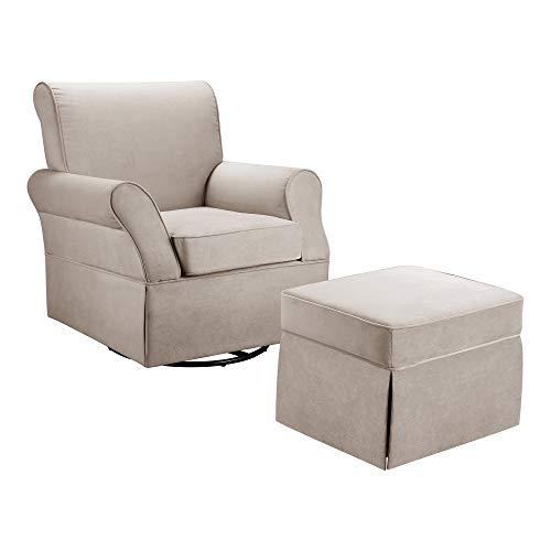Baby Relax Kelcie Swivel Glider Chair & Ottoman Set, Nursery Furniture, Beige Microfiber
