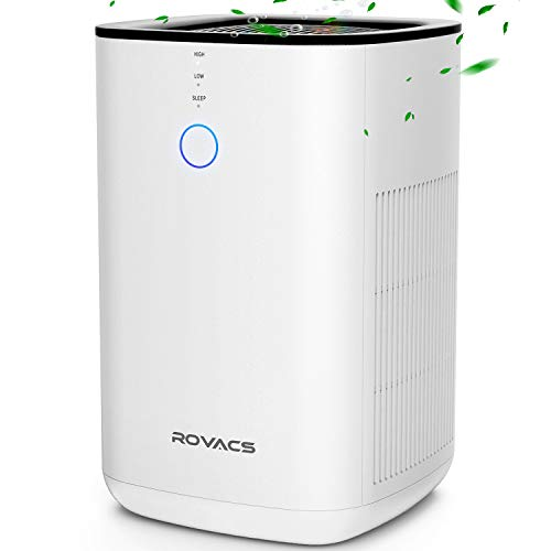 ROVACS Air Purifiers for Home, 3-in-1 True HEPA Filter Air Purifier Up to 400ft² Per 30Min, Desktop Air Purifier for Smoke, Dust, 3D Intake, Available for California