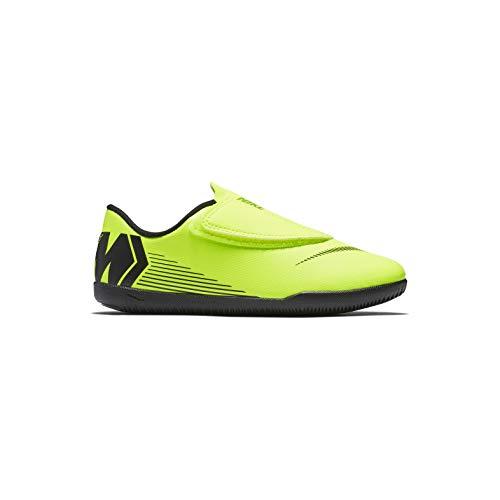 Nike Botas de Fútbol Mercurial Vapor Series Suela Lisa Amarillo/Negro Niño con Velcro