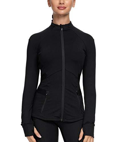 QUEENIEKE Womens Sports Jacket Slim Fit Full-Zip Size M Color Black
