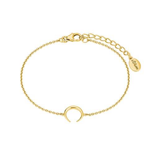 s.Oliver so Pure Damen-Armkette aus gelbvergoldetem 925er Sterling-Silber mit Mond-Anhänger, Büffelhorn, längenverstellbar (16+3 cm)