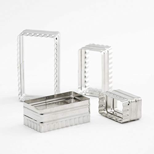 Thermohauser 8300032188 Set de 4 emporte-pièces rectangulaires en acier inoxydable avec bords ondulés 6,4 x 3,7 x 6,7 cm
