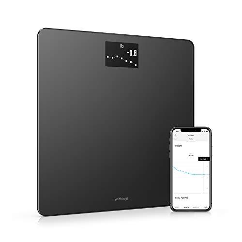 Withings Body Báscula inteligente con conexión Wi-Fi y seguimiento del IMC, báscula digital de baño con sincronización con la aplicación móvil por Bluetooth o Wi-Fi