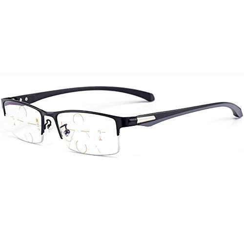 SHEEN KELLY Gafas de lectura progresiva de enfoque múltiple Bloqueo de luz azul Hombres Mujeres Borde de medio metal Rectangular 3 Bifocal de potencia