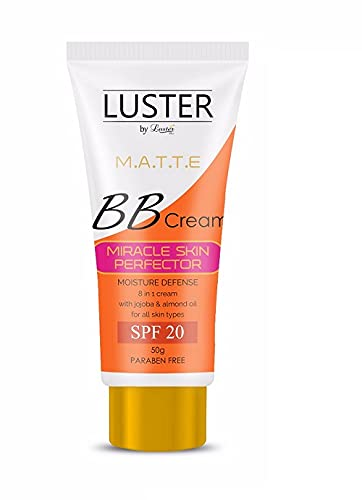 Luster BB Cream   Instant Complexion   Moisture Defense   Miracle Skin Perfector-SPF 20   Enriched With Jojoba & Almond Oil   BB Cream For Dry Skin   Paraben & Sulfate Free - 50 gm
