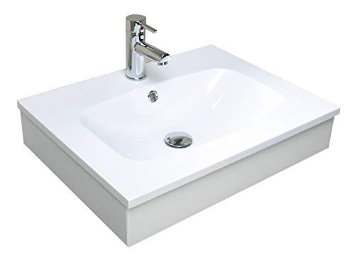 Salle de bain Meubles Lavabo/Lavabo/Lavabo en mineralmarble blanc mat de 60 cm avec support en bois