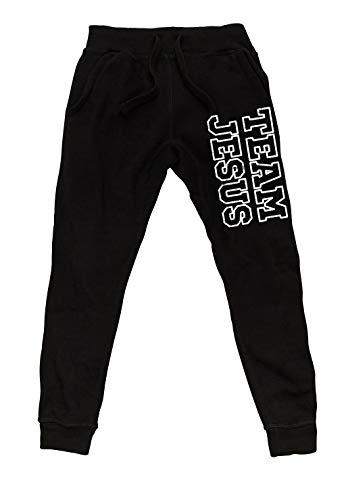 Koyotee Men's Team Jesus Black Fleece Gym Jogger Sweatpants X-Large Black