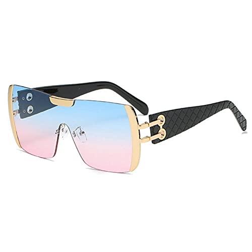 XDOUBAO Gafas de sol Metal Decorativo Boxed Pareja Moda Personalidad Gafas de sol Color Tide Gafas de sol-Color foto_Tabletas de gradiente de polvo azul de marco de oro negro