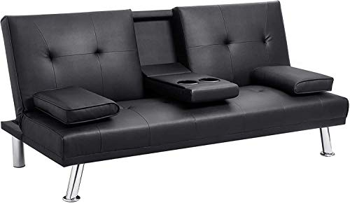 Leather Sofa, Convertible futon Sofa Bed, for Living Room, Sofa with armrest and Recliner, with Cup Holder-Black