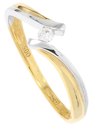 MyGold Verlobungsring Gelbgold Weißgold 585 Gold (14 Karat) Mit Brillant 0,05ct. Solitär Heiratsantrag Gr. 60 Diamond Life R-01669-G461-DIA03S/H/S2-0,05ct-W60