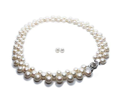 Perlenkette 3-reihig v. Licia Jewellery, ca. 45cm, Ø6-9mm, weiß. Perlenform Knopf. Gratis dazu: passende weiße Perlen-Ohrstecker 8-9mm. Set mit Geschenk-Etui, für Damen Trachtenschmuck Brautschmuck