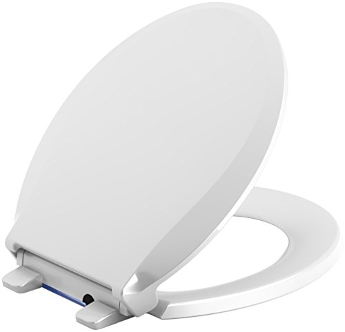 KOHLER 75758-0 Cachet Nightlight Quiet-Close with Grip-Tight Round-Front Toilet Seat in White