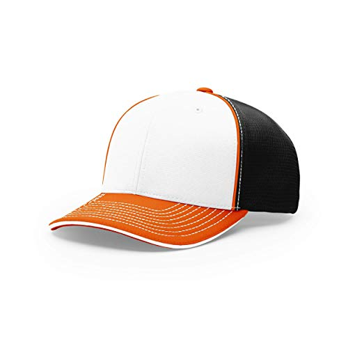 Richardson Unisex 172 Trucker Pulse Sportmesh R-Flex Baseball Cap, Tri White/Black/Orange, Small/Medium