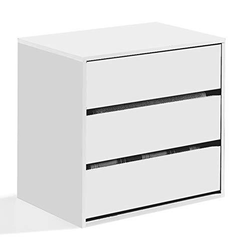 Dmora Cassettiera a Tre cassetti, Colore Bianco, cm 60 x 57 x 44