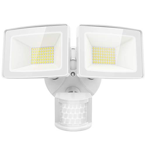 Olafus LED Sicherheitslicht mit Bewegungsmelder 50W, 5500LM Superhell Außen Fluter, IP65 Wasserfest 2 Flutlicht mit verstellbarem Kopf, 5000K Tageslichtweiß Außenstrahler für Haustür, Hof, Garage