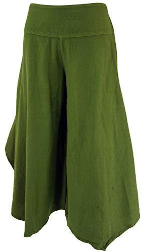 GURU SHOP Bequeme Palazzohose, Hosenrock, Damen, Olivegrün, Baumwolle, Size:L/XL (38), Lange Hosen Alternative Bekleidung