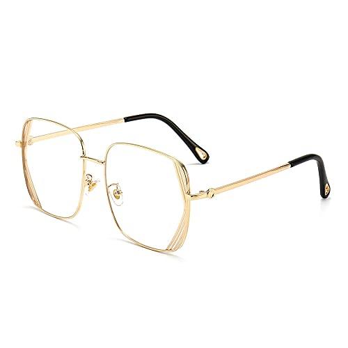 Gafas Gafas de sol de marco grande cuadrado Melaje de tinta de metal de moda espejo anti-uv gafas-Color foto_Marco de oro hoja transparente