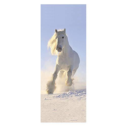 Pegatinas de Puerta calcomanías de Papel Tapiz Running White Horse 3D PVC extraíble Oficina Restaurante PVCInterior habitación Infantil