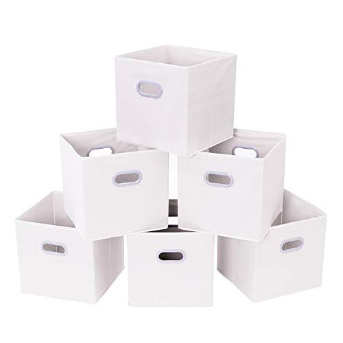 MustQ Cubos de Almacenamiento de Tela con Asas de plástico Dobles para el hogar, Armario, Dormitorio, cajones, organizadores, flotable, Beige, Juego de 6