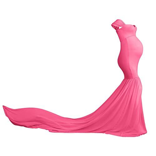 Schwangere Frauen Fotografie Stützen,Schwangerschaftskleid Umstandskleid Damen Schulterfreies Mutterschaft Lange Chiffonkleid Kleidung Elegante Hochzeit Krankenpflege Heiß rosa Einheitsgröße
