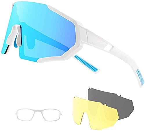 Gafas de sol de ciclismo deportivo polarizado para hombres y mujeres con 3 lentes de colores Anti-UV Aviator Aviator Mirror para guía de ciclismo Pesca Corriendo Golf Bike Motocicleta-gris blanco