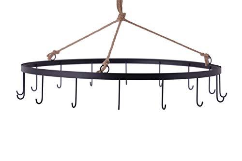 Spetebo Metall Deckenkranz mit 16 Haken schwarz - Ø 50 cm - Deckenhänger Hänge Deko Kranz zum Aufhängen