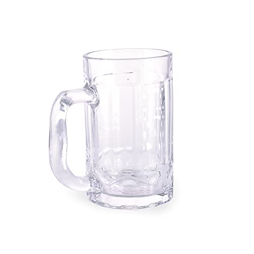 takestop Bicchieri Birra in Vetro Trasparente con Manico Set 3 Pezzi 380 ml 13.5x11.5x7.7 Cm