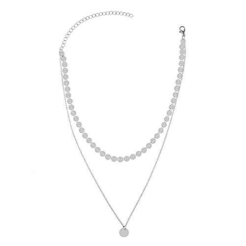 2019 simple oro moneda lujo moda capas gargantilla collar para las mujeres múltiples capas Chocker collares, Aleación de zinc,