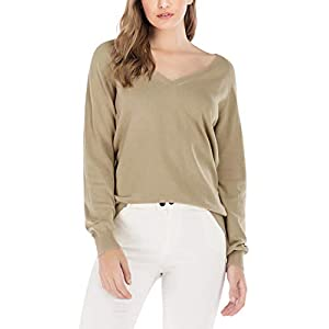 Women's Cotton  V Neck Sweater Relaxed Fit Soft Knit