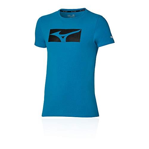 Mizuno Athletic RB Camiseta, Azul Mykonos, L para Hombre